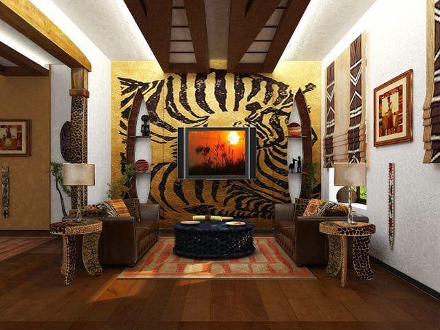 гостиная в стиле сафари