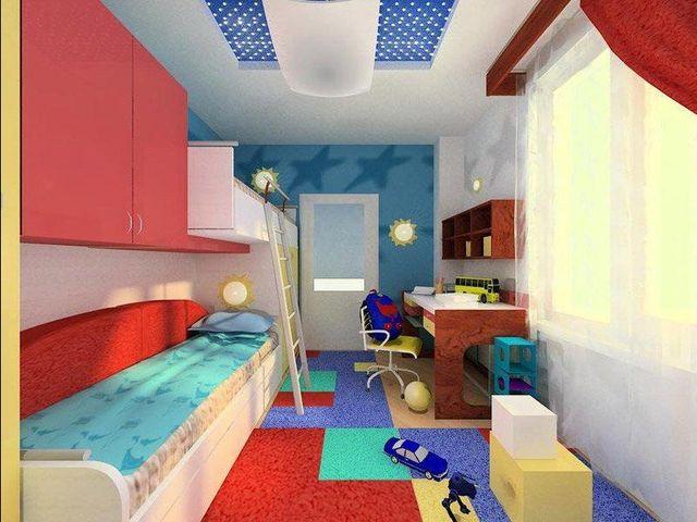 Дизайн узкой детской комнаты