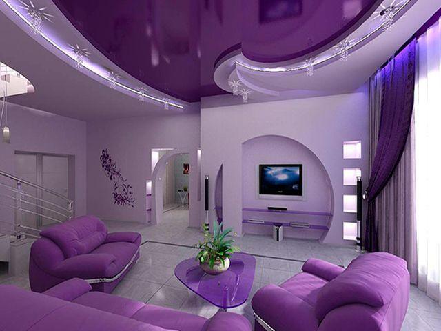 роскошный двухуровневый потолок в гостиной
