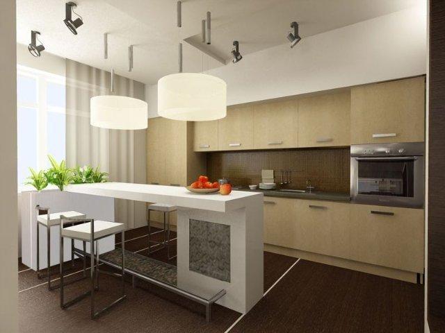 европейская кухня с компактной мебелью