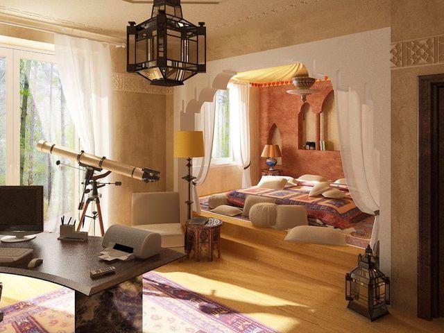 марокканский интерьер в коричневых тонах