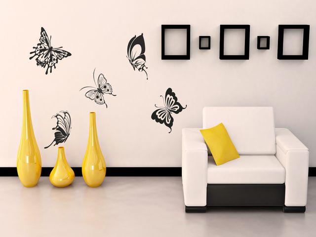 декор из бабочек в интерьере