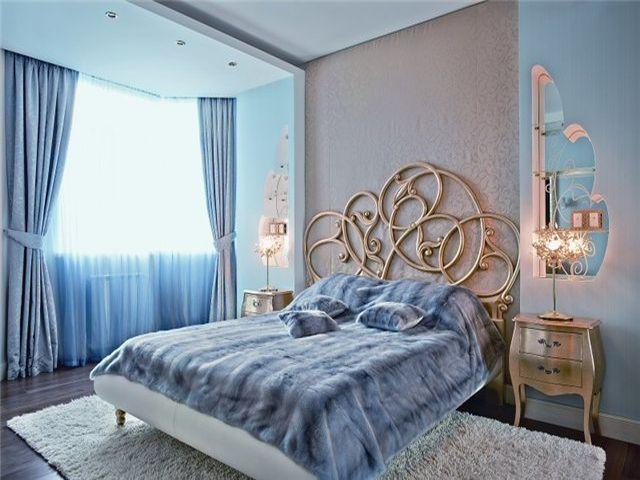 романтическая комната в голубых тонах