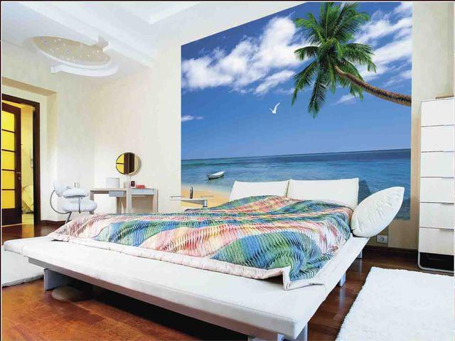 морские фотообои в спальне