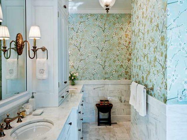 природный орнамент в ванной комнате