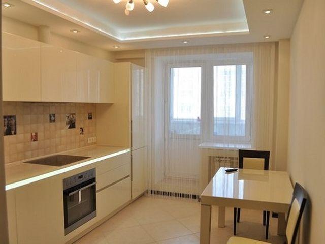 двухуровневый потолок с подсветкой на кухне