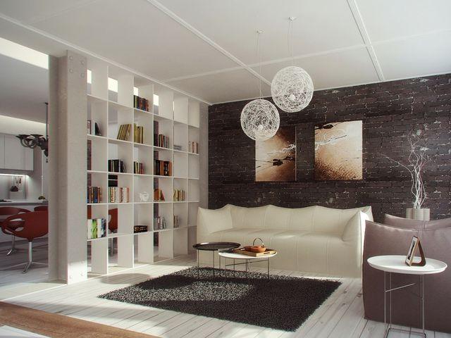 декоративный стеллаж для зонирования комнаты