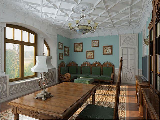 деревянный стол в романском стиле