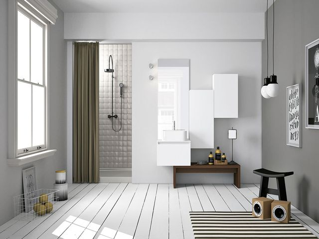 белый деревянный шкафчик в ванной