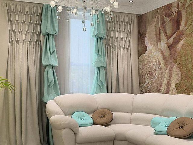бирюзовые шторы в уютной гостиной
