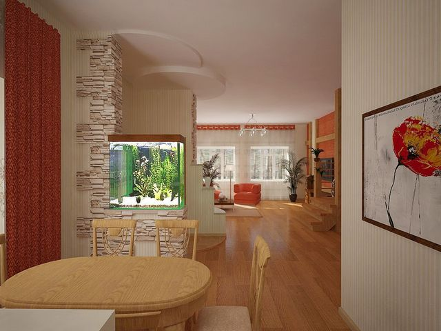 Аквариум в интерьере гостиной в японском стиле