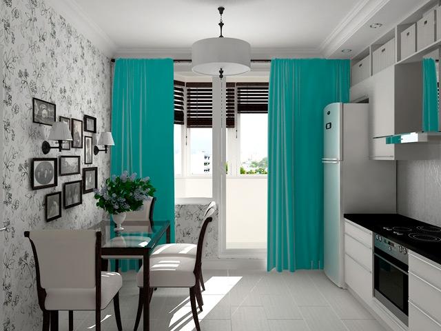 бирюзовые шторы и скатерть на кухне