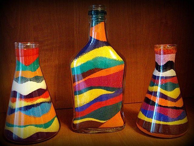 бутылка с цветной солью