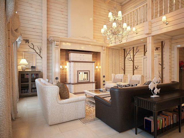 классический стиль в интерьере деревянного дома