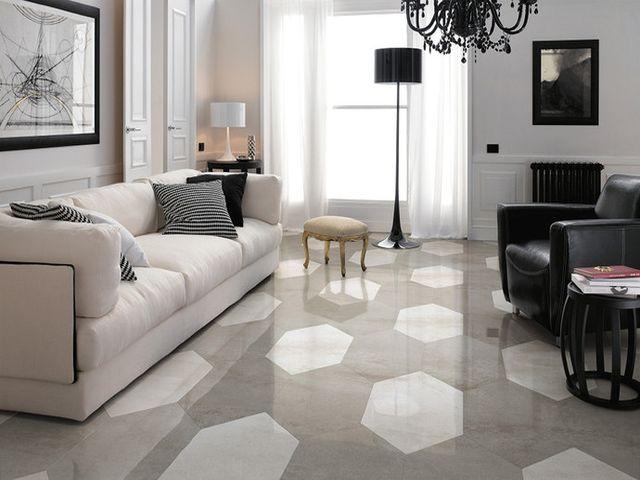 необычный рисунок на полу из керамической плитки