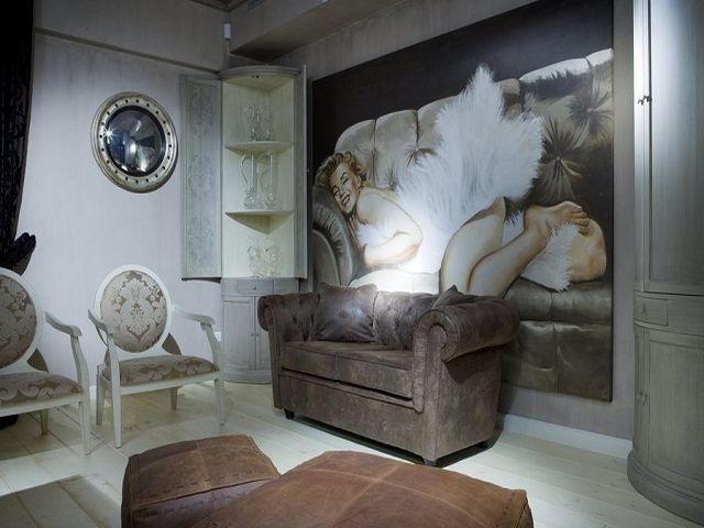 цифровая фреска в классической гостиной