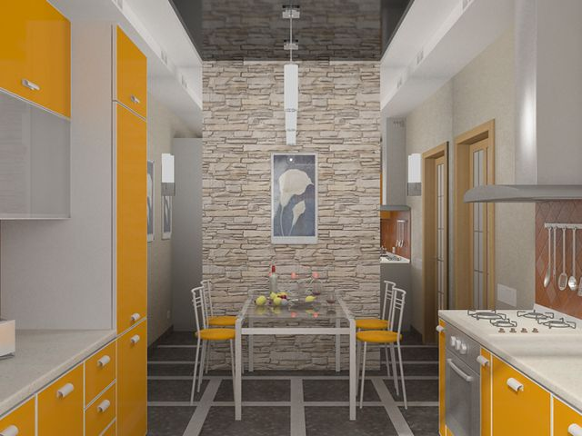 искусственный камень в интерьере квартиры