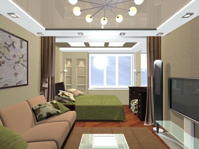 просторная комната, совмещенная с лоджией