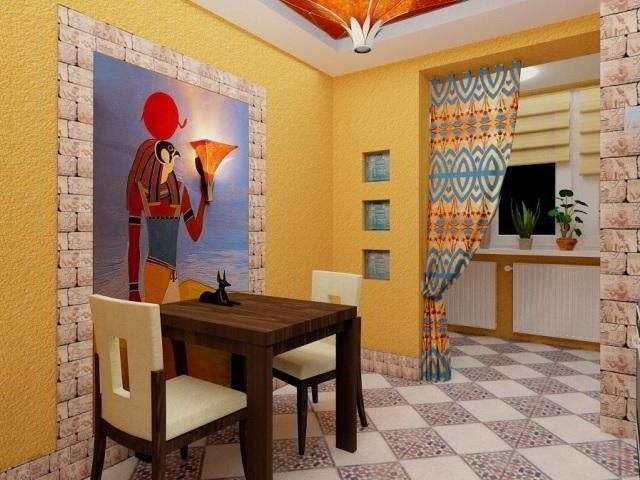 кухня, совмещенная с лоджией в ярких красках