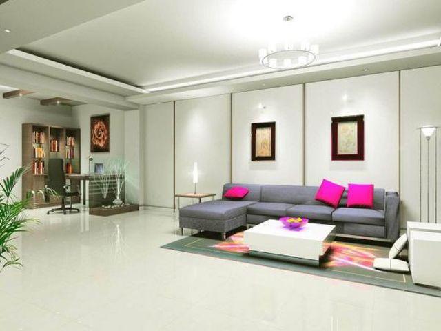 гипсокартоновый потолок со шпаклевкой в интерьере