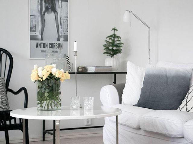 серебряные аксессуары в шведском интерьере