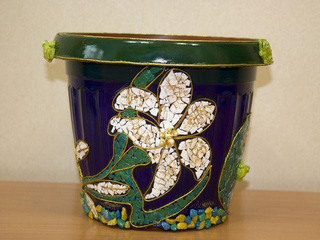 цветочный горшок в восточном стиле с яичной скорлупой