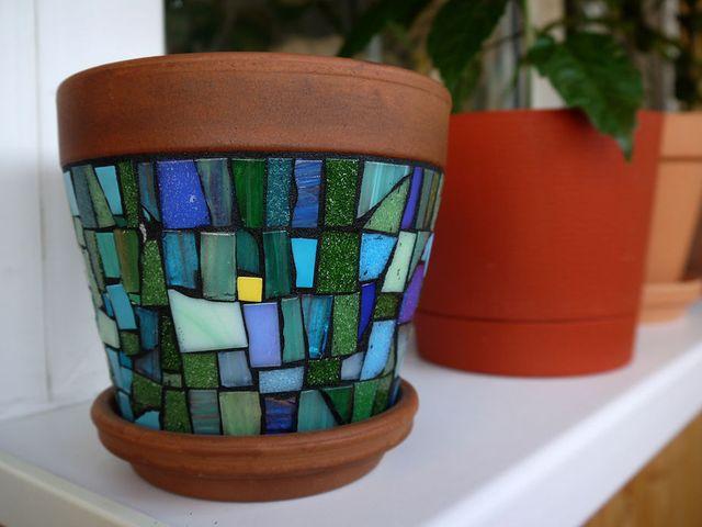 мозаичный цветочный горшок