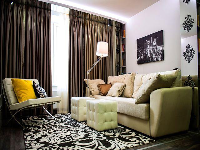 красивая гостиная размером 15 кв. метров