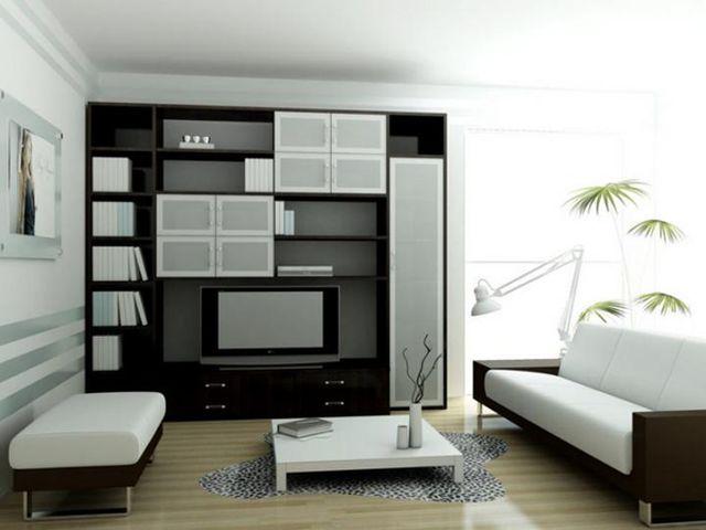 гостиная хай-тек в черно-белых тонах