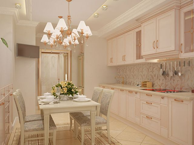 небольшая кухня в классическом стиле
