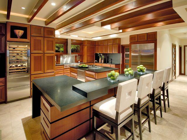 многоуровневый кухонный остров