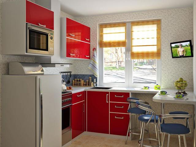 встроенная бытовая техника на маленькой кухне