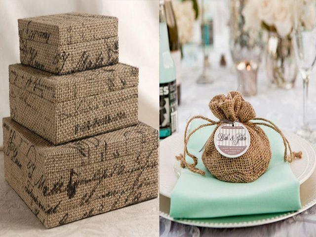 Банки, коробочки, корзинки, декорированные мешковиной