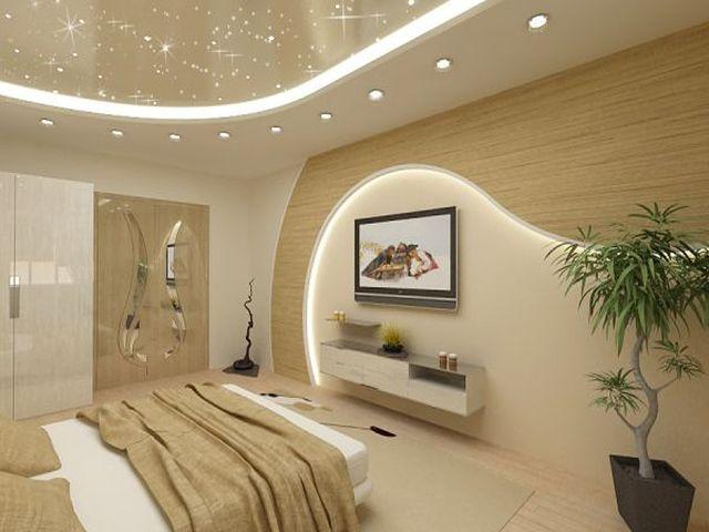Спальня 13 кв. м с освещением по периметру потолка