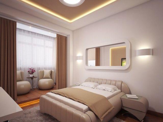 изящная мебель в спальне среднего размера