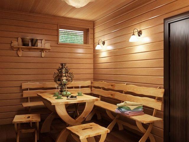 комната отдыха в бане в русском этническом стиле