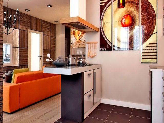барная стойка между комнатой и кухней