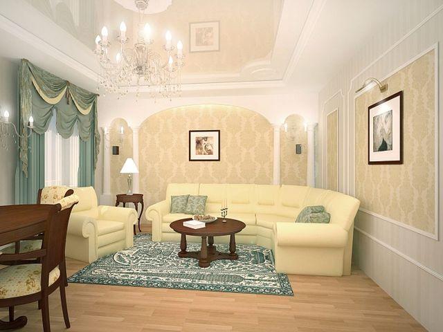 просторный зал в классическом стиле